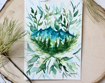 Little Mountain Scene - Original Watercolor Painting