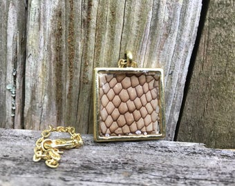 Snake Skin Gold Square Pendant Necklace