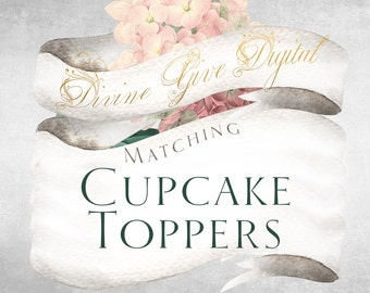 Matching Cupcake toppers with all my Invitations - Printable Digital Cupcake toppers, a la carte or add on