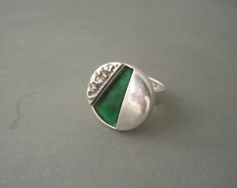 Massive modernist sterling silver and green enamel ring, Denmark, 1960s.