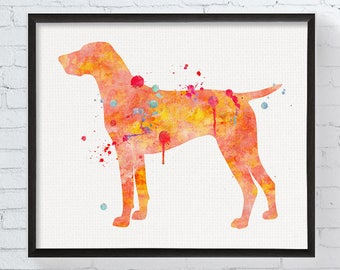 German Shorthaired Pointer Art Print, Watercolor German Shorthaired Pointer, Watercolor Dog Painting, Dog Wall Art, Dog Lover Gift,, Framed
