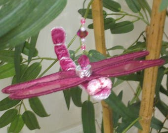 Dragonfly Ornament - Housewarming Gift - Bridesmaid Gift - Christmas - Birthday Gift - Rose Pink