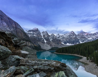 Moraine Lake Photograph, Lake Louise Photo, Banff National Park, Alberta, British Columbia, Canada, Sunrise, Fine Art, Wall Decor