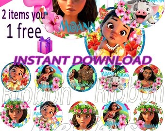 "INSTANT DOWNLOAD- Moana  Digital Bottle Cap Images - 1"" Bottle Cap Images 4x6-  Buy 2 get 1 Free"