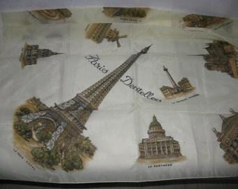 Large square scarf Paris France monuments landmarks Eiffel Tower polyamide fabric vintage