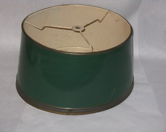 Vintage all metal lamp shade green brass tone