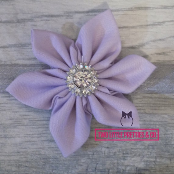 Large Light Purple Fabric Flower Headband   Baby Girl   Hand Sewn