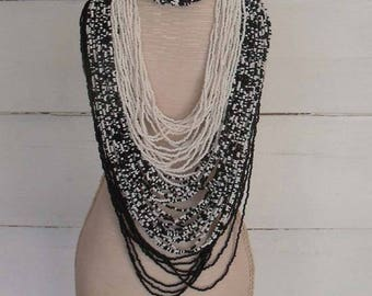 Vintage Black and White Seed Bead Necklace & Bracelet