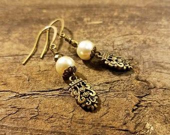 Filigree Earrings, Pearl Earrings, Victorian Earrings, Bronze Earrings