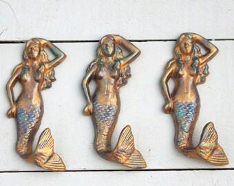 Mermaid Hooks, Beach Decor, Mermaid Decor, Towel Hooks, Coastal Home Decor, Beach House Decor, Beach Bathroom, Mermaid Wall Decor Wall Hooks