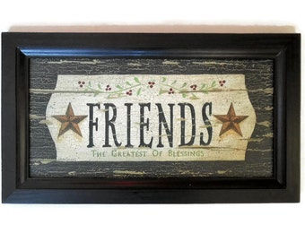 Friends, Primitive Art, Art Print, Wall Art, Primitive Decor, Country Decor, Wall Hanging, Handmade, 19X11, Custom Wood Frame, Made in USA