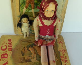 Lot of 2 Vintage Dolls ~ Cloth or Rag Doll and Native American Doll