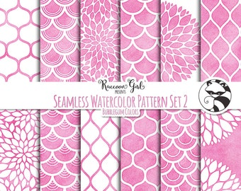 50% OFF Seamless Watercolor Pattern Set #2 in Bubblegum Colors Digital Paper Set - Personal & Commercial Use