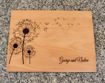 Dandelion Personalized Cutting Board Lasered Engraved Wedding Anniversary Bridal Shower Housewarming Kitchen Gift