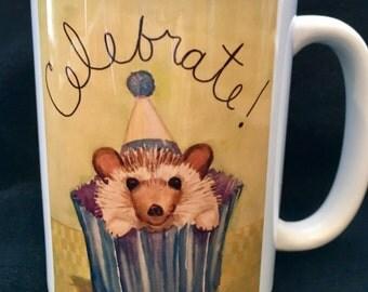 Hedgehog mug - Celebrate! 15 oz