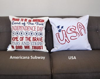 Patriotic pillow cover, Americana pillow cover, Memorial Day, Fourth of July, Summer pillow, USA Pillow, subway pillow