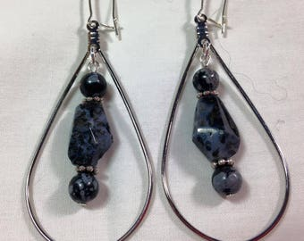 Black Moss Agate & Snowflake Obsidian Dangle Earrings