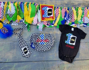 Uno party set, 5 pc party set,  personalized onesie, diaper cover, Party hat, highchair garland, neck tie
