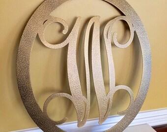 Metal Monogram Door Hanger w/ matching Hook - (2 piece set),Metal door wreath, Personalized Gift, Front Door Wreaths, Monogram Wreath
