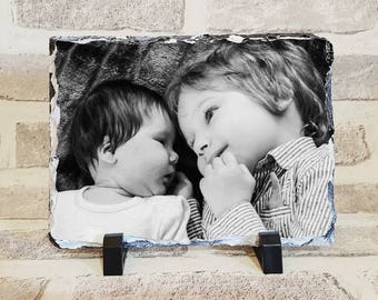 Personalised photo slate custom photograph block customised 14cm x 19cm rock slate image home decor gift present picture stand