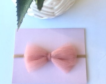 Handmade! Tulle Bow Nylon Headband! Newborn, Baby Girl, toddler Girls
