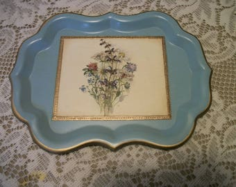 Vintage Little BLUE Metal Paper Flowers ENAMEL TRAY w a Touch of Gilt, Scalloped Sides