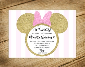 Oh Twodles / Pink and Gold Glitter / Stripes / Shabby Chic / Minnie Mouse Second Birthday Invitation