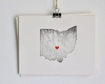 Ohio State Notecard / Heart / Greeting Card / Rustic / Modern / Moving / Thank You / Chic / Handmade / Wedding / Set of Cards / Travel