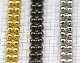 two strand soldered Gold tone - Rhodium  - Gunmetal Brass Ball Chain 1.5 x 3 mm 1356