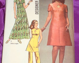 70s Vtg Mod A Line Dress in 2 Lengths 3 Views w Keyhole Neckline n Pants COMPLETE Simplicity Designer Pattern 9014 Bust 38 Inches 97 Metric