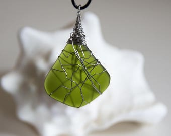 Green Sea Glass and Wire Wrapped Pendant