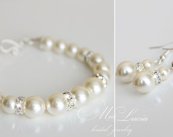 Wedding Jewelry Set, Pearl Bridal Jewelry Set, Bracelet and Earrings SET,  Jewelry for Brides, Pearl Wedding set Bridal bracelet set e39-b02