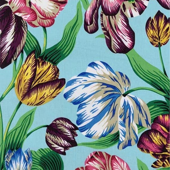 TULIP EXTRAVAGANZA MULTI pwpj089 Philip Jacobs for Kaffe Fassett Collective Sold in 1/2 yd increments