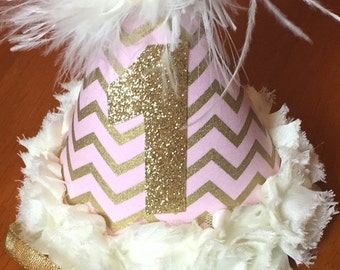 Pink, Ivory,  and Gold Party Hat