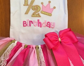 It's My Half Birthday Pink and Gold Birthday Princess Scrap Fabric Tutu Outfit