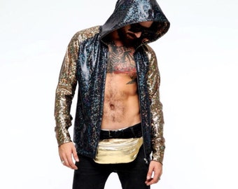 Mens Holographic Hoodie | 13 Colors | Burning Man Costume, Mens Burning Man Outfit, Mens Festival Clothes, Jumper, EDM, Rave, Coachella