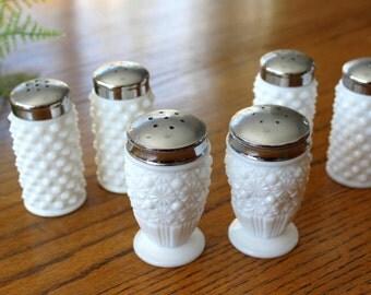 6) Vintage Fenton Milk Glass Salt & Pepper Shakers / Rare Daisy and Button Milkglass Shakers / Fenton Milkglass Hobnail