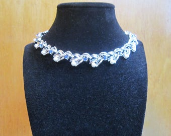 Vintage sapphire blue rhinestone and faux pearl rhodium plated silver tone choker necklace - estate jewelry