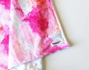 Watercolor Baby Blanket, PIXEL SUGAR, lovey blanket, Double Minky, Snuggle Blanket, Security Blanket, baby shower gift