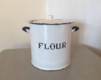 Vintage White Enamel Metal Flour Bin