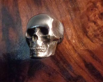 Gothic Skull Cabinet knob solid Hand Cast Brass Nickel Finish