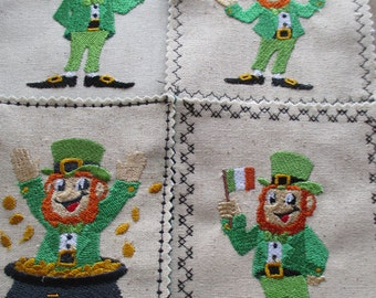 St. Patrick's Day magnets 5.00 each -machine embroidery, leprechaun with shamrock, with flag of Ireland, with rainbow, with pot of gold