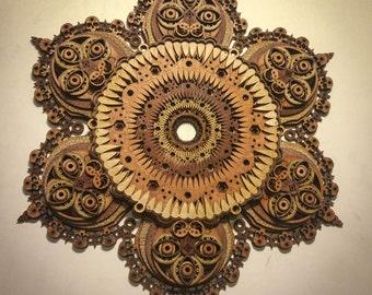 The Great Destroyer Yama Sacred Geometry Yoga Meditation Mandala Laser Cut Wood Art Demon Eyes Teeth Tantra Buddhism