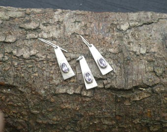 Sterling Silver Amethyst Drop Earrings Necklace Pendant Set