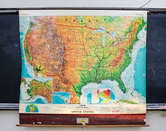 United States Pull Down Map Vintage Wall Hanging Decor
