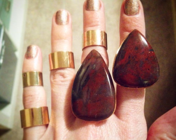 Bloodstone with Gold Leaf Rings, Size 5 Ring, Red Bloodstone Ring, Bloodstone statement Ring, Jasper Statement Ring