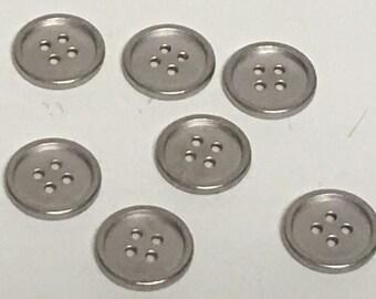 "3/4"" Silver button, Vintage button, Round Silver button, Sew through button, Reversible, Flat Button, Sweater Button, Bracelet button"