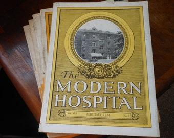 February 1934 antique MODERN HOSPITAL MAGAZINE w/Drug ads, equipment ads, photos