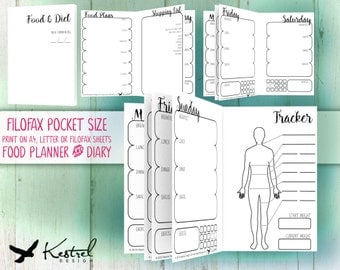 Printable Diet Planner & Diary - Filofax Pocket size 8.1cmx12cm - Kestrel Design DIY immediate download - Filofax or booklet - new year loss