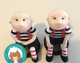 Alice in wonderland twins  inspired fondant  toppers